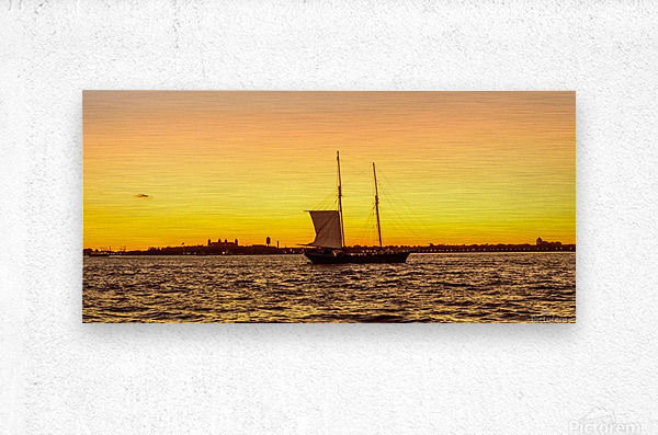 Sunset over the NY harbor  Metal print