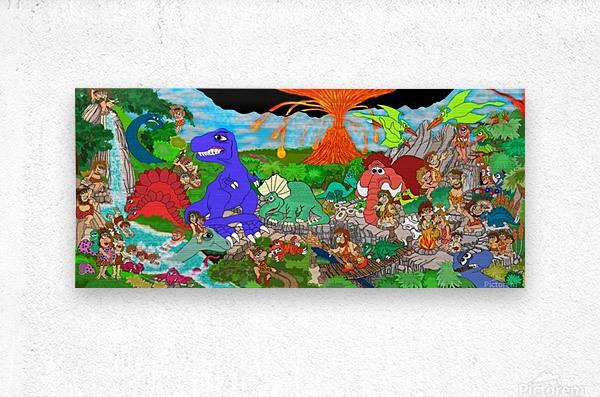 Dino Land Printed Mural  Metal print