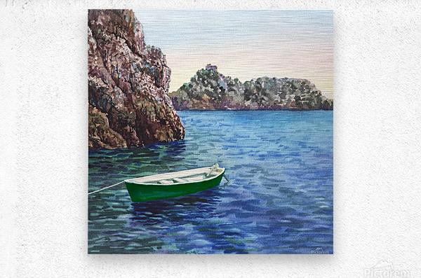 Green Boat Blue Sea Grotto Emeraldo Harbor   Metal print