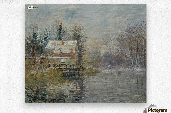 The House by the Water, Snow Effect  Metal print