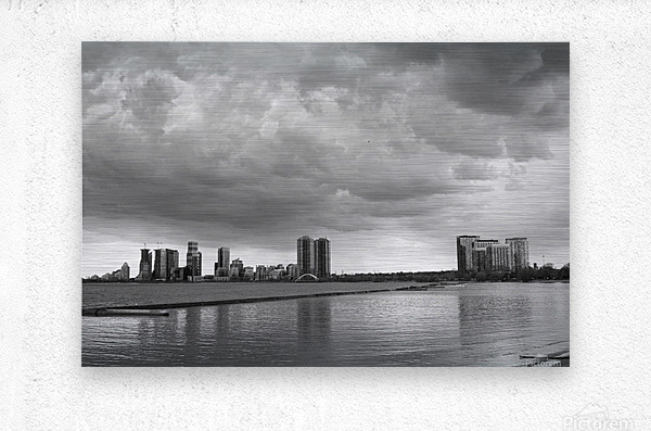 City at Ontario Lake B&W  Metal print