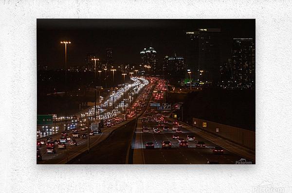 Busy road at night  Metal print