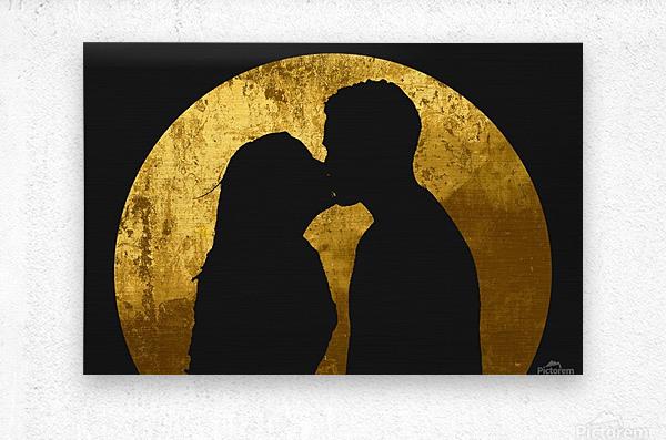 kiss and the moon  Metal print
