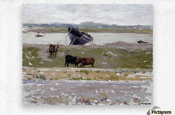 The Cows near an Old Boat, Etaples  Metal print