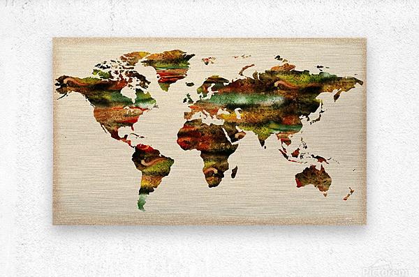 Watercolor World Map Vintage Brown  Metal print