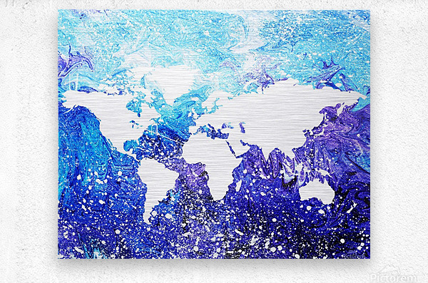 Watercolor Silhouette World Map Global Cooling   Metal print