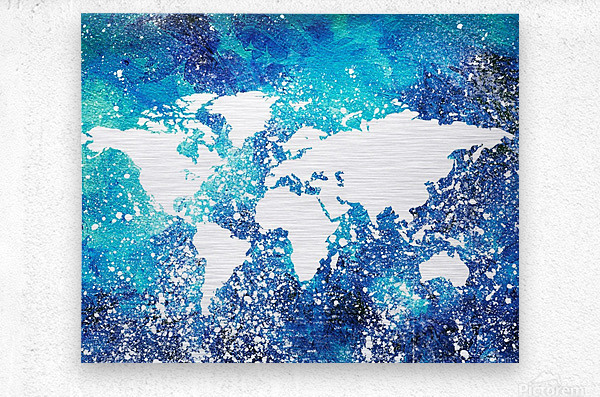 White And Teal Watercolor Silhouette World Map   Metal print