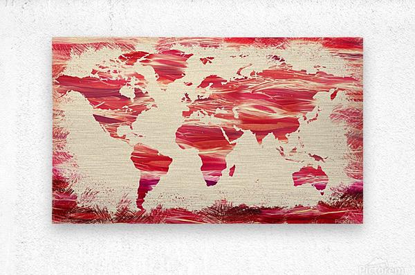 Watercolor Silhouette World Map Pink Terra  Metal print