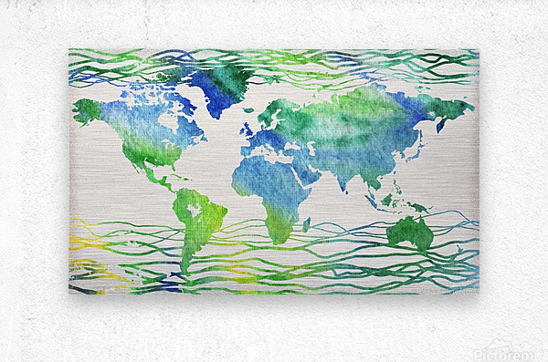 Watercolor Silhouette World Map Blue Green Wave   Metal print