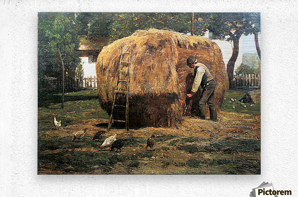 The Barnyard by Hassam  Metal print