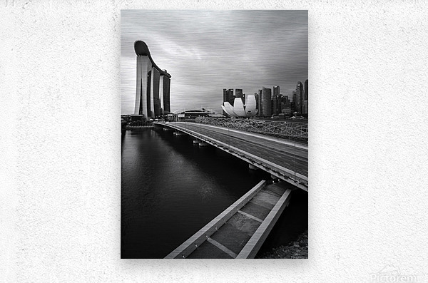 Singapores Marina Bay seen from the highway crossover  Metal print