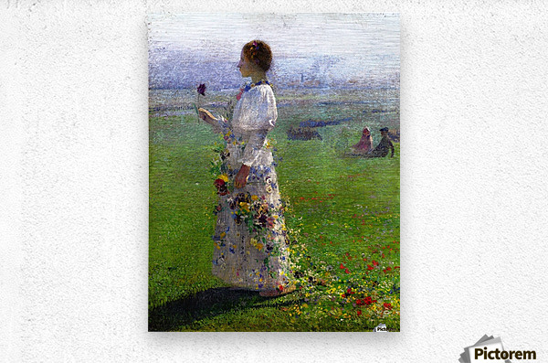 Young Woman Walking by the Field  Metal print