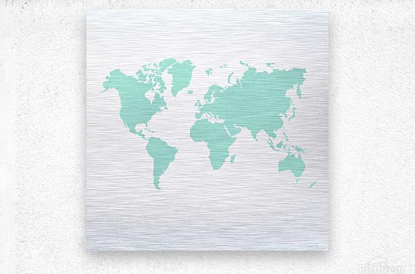TURQUOISE SHADE WORLD MAP  Metal print