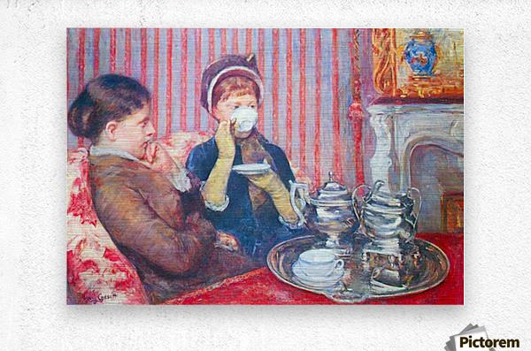 A cup of tea 2 by Cassatt  Metal print