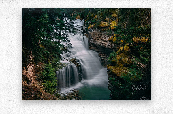 Johnson Canyon Trail Falls Long Exposure  Metal print