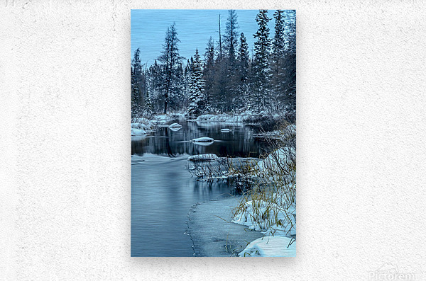 River and snow  Metal print