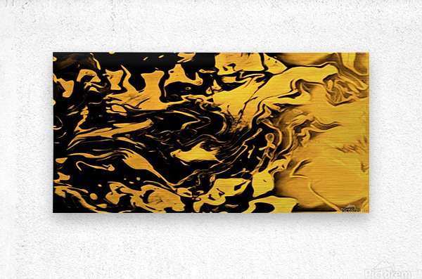 Richer fusion - gold and black gradient abstract wall art  Metal print