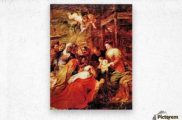 Adoration of the Magi by Rubens  Metal print