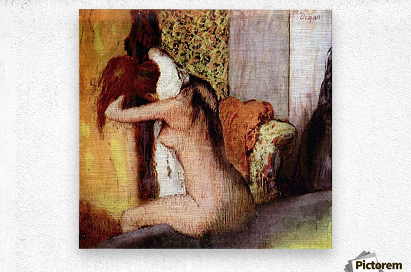 After bathing 2 by Degas  Metal print