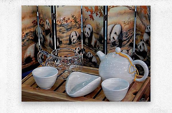 Chinese Tea Ceremony Set With Pandas  Metal print
