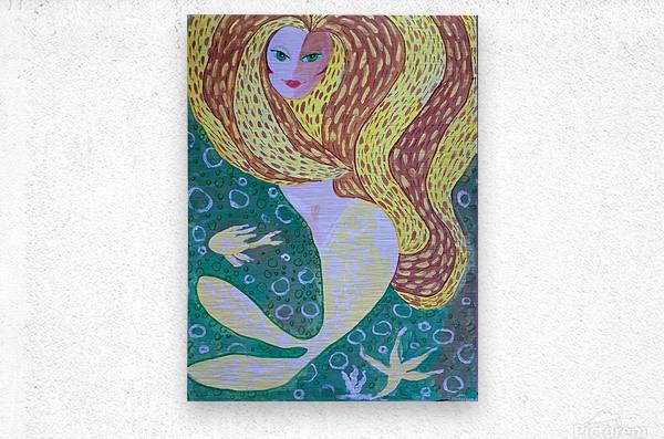 Mermaid Underwater   Metal print