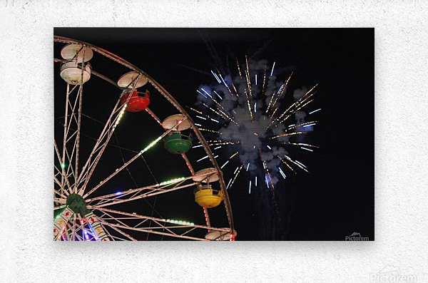 Ferris Wheel and Fireworks  Metal print
