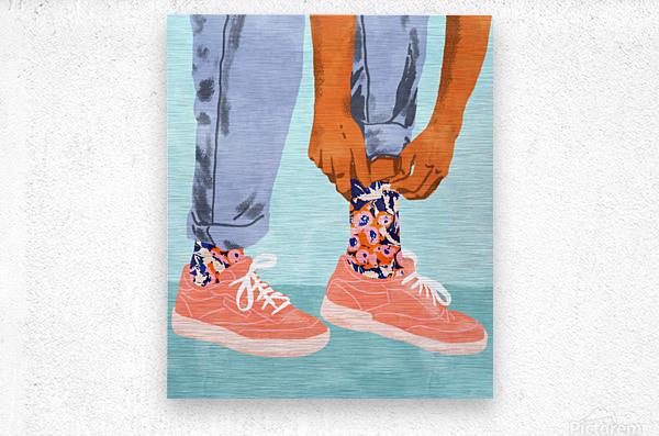 Pull Up Those Pretty Socks  Metal print