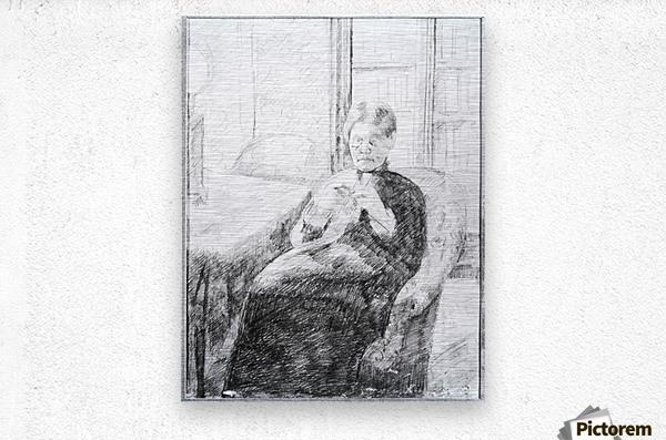 An old woman knitting by Cassatt  Metal print