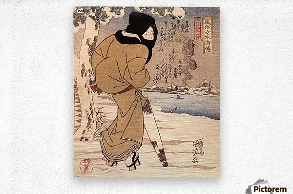 Women walking in the snow  Metal print