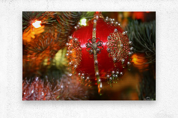 Festive Christmas holiday background with Santa Claus presents and tree.  Metal print