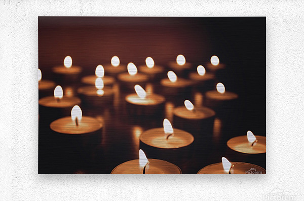 Candles on dark background  Metal print