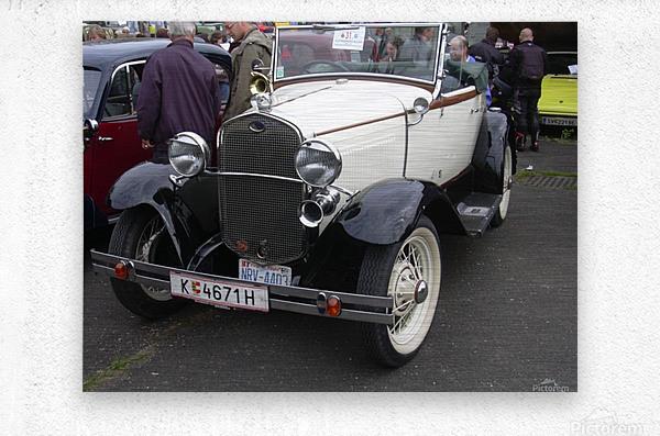 Vintage car in italian exposition  Metal print