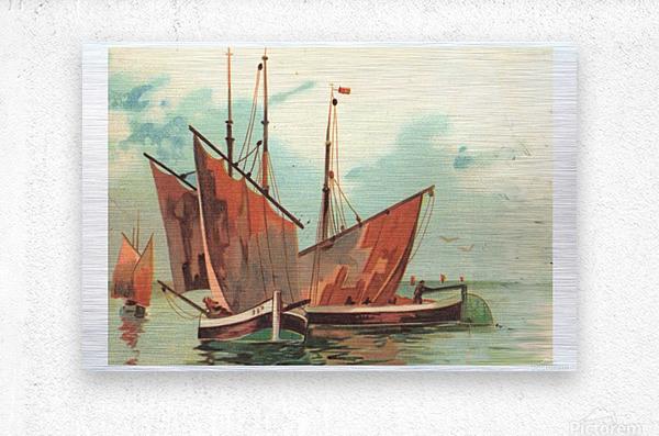 Greeting card Sailing boats  Metal print