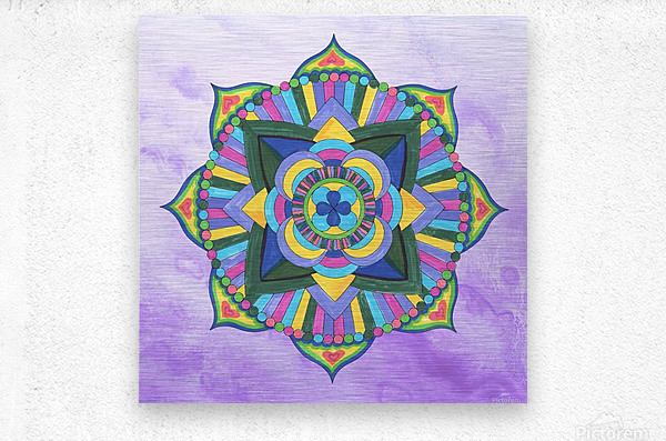 Hand Painted Mandala Watercolor Meditation on Purple  Metal print
