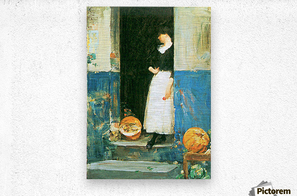 The fruit trader by Hassam  Metal print