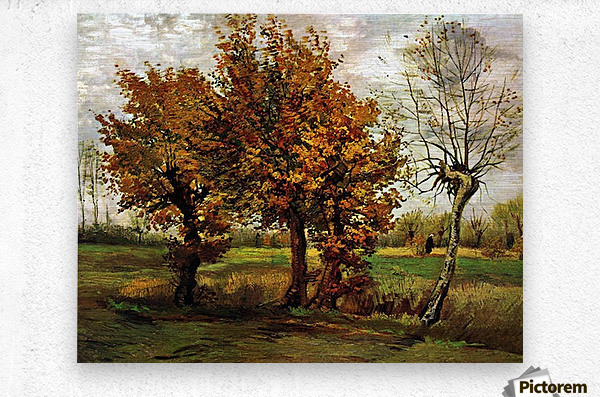 Autumn Landscape with Four Trees by Van Gogh  Metal print