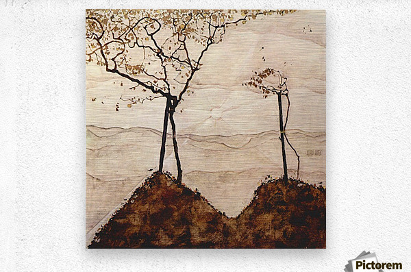 Autumn sun and trees by Schiele  Metal print
