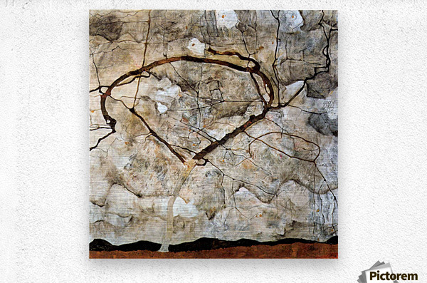 Autumn tree in the wind Schiele  Metal print