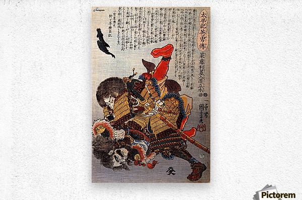 Saito Toshimoto and a warrior in a underwater struggle  Metal print