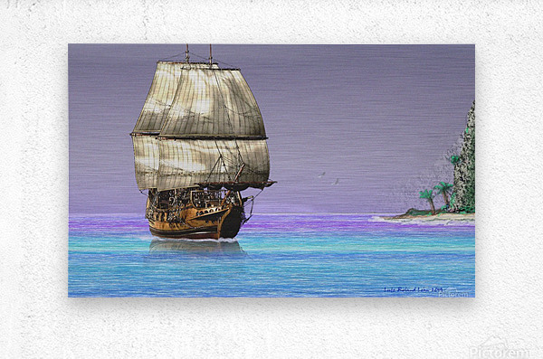 Sailship On A Tropical Island  Metal print