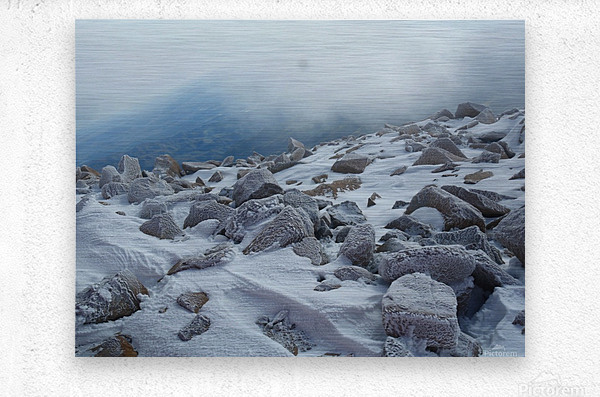 Mountainside with Snow-covered Rocks  Metal print