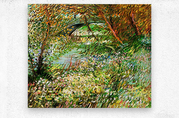 Banks of the Seine with Pont de Clichy in the Spring by Van Gogh  Metal print