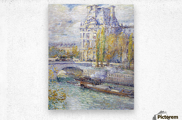The Louvre on Pont Royal by Hassam  Metal print