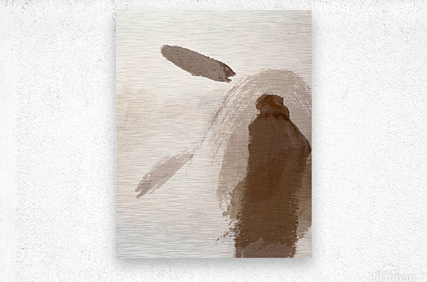 Man with Two Feathers  Metal print