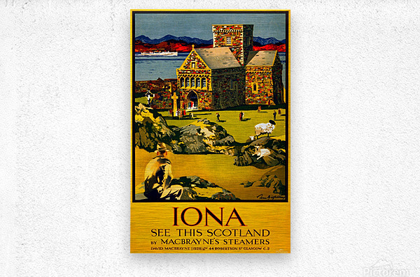 Vintage Travel - Iona Scotland  Metal print