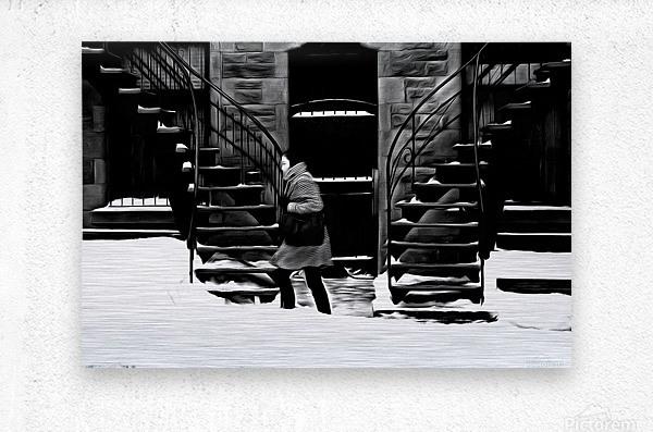 Trudging Through the Snow  Metal print