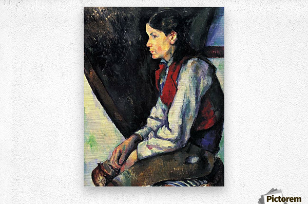Boy with Red Vest by Cezanne  Metal print