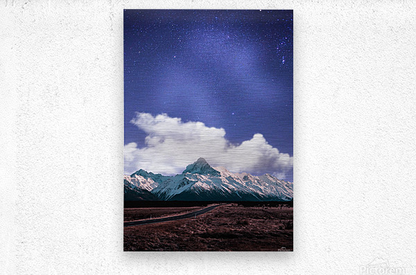 Blue Sky Over The Mountain  Metal print