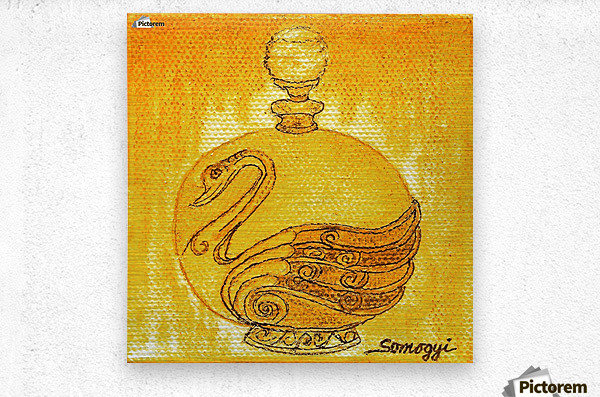 Bottled Gold Swan  Metal print