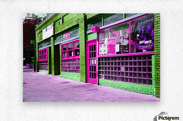 Atlanta Street Scene -- Fuchsia & Lime  Metal print